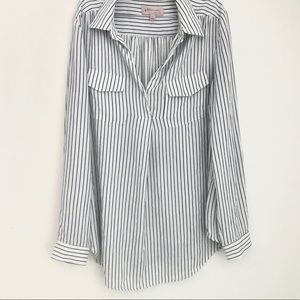 Philosophy white and Black Pinstripe Blouse